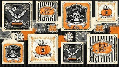 Gone Batty Halloween Panel-Wilmington Prints-Bats-Pumpkins-Flies-Spiders](Wilmington Halloween)