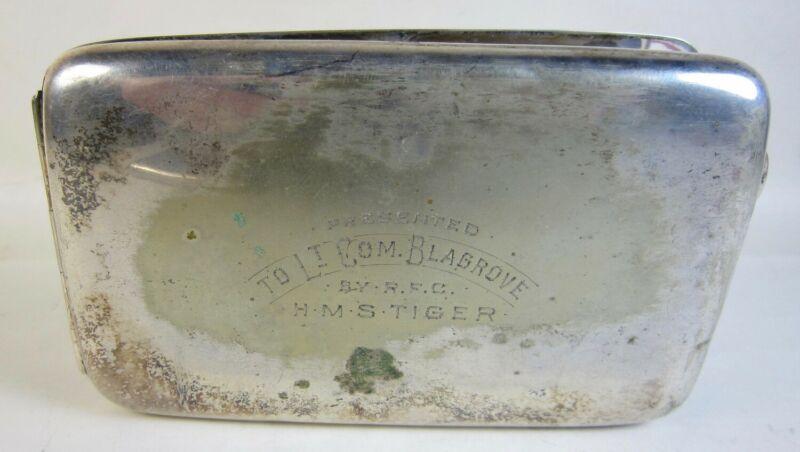 Antique WWI English Silverplate Cigarette Case HMS Tiger (1913) Named