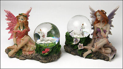 Unicorns in Snow Globes with 2 Fairies - Garden Set for sale  Shipping to India