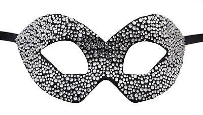 Mask from Venice Colombine Silver Black Swarovski Rhinestone Luxury Paper Mache