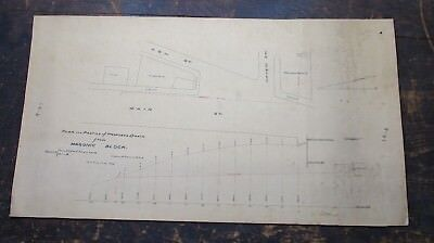 1895 Hand Drawn Survey Plan for Proposed Drain Masonic Block, Reading, MA