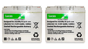 2 X LUCAS 12V 22AH AGM MOBILITY SCOOTER BATTERIES To Fit DMA Strider Mini 3