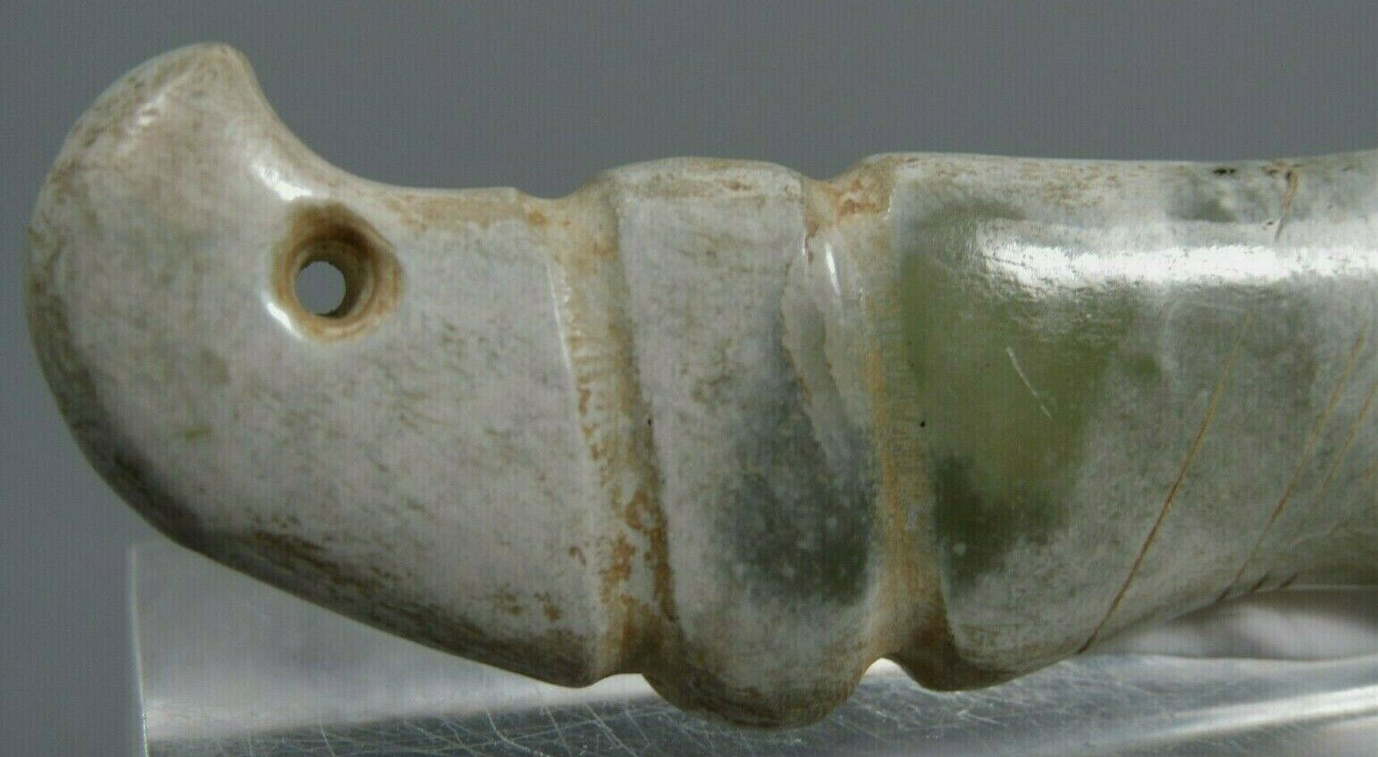 China Chinese Green  White Jade Carved Stylized Form Amulet Pendant ca 20th c
