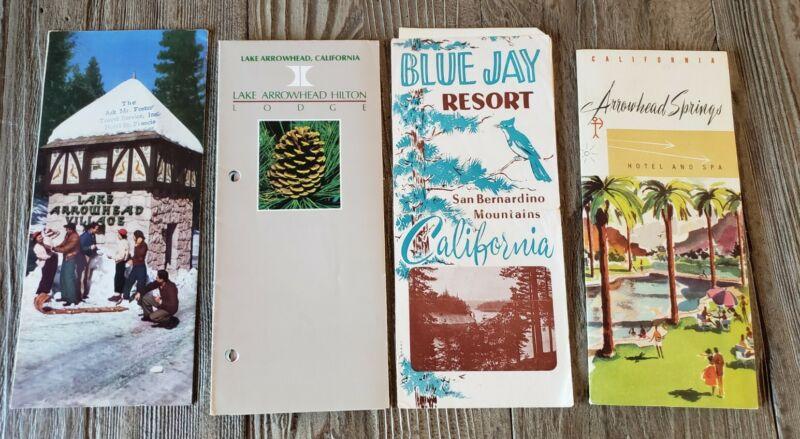 4 vintage Brochures Lake Arrowhead Blue Jay Big Bear San Bernardino Mts Ca
