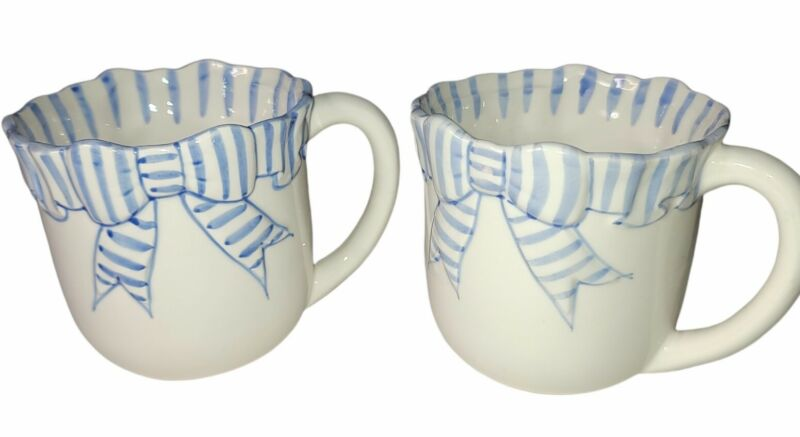 2 HALDON GROUP BLUE STRIPE RIBBON MUGS CUPS - 1989 NOS 1 Has Japan Sticker Mint