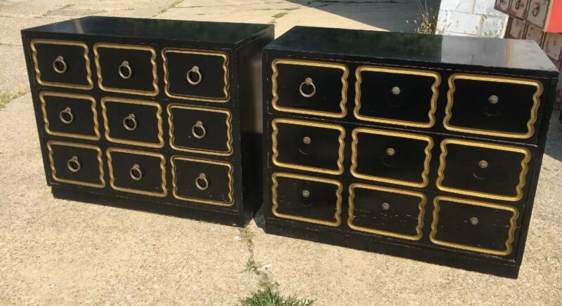Pair Of Dorothy Draper Espana Style Chest Of Drawers Black/Gold For Restoration