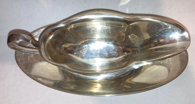 Vintage 2pc Sterling Silver Gorham Gravy Sauce Boat A1000 And Under Plate A8697