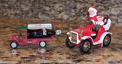 Vintage Coca-Cola Christmas Tree Ornaments Mrs. Claus Model T & Billboard Truck