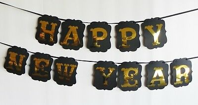 Happy New Year Black and Gold Banner for Your New Years Eve NYE Party Decoration - Black And Gold New Years Eve Decorations
