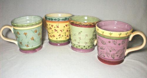 Culinary Arts Studio:Julie Ingleman Designs: 4 Different Floral Leaf Mugs:EXC:NR