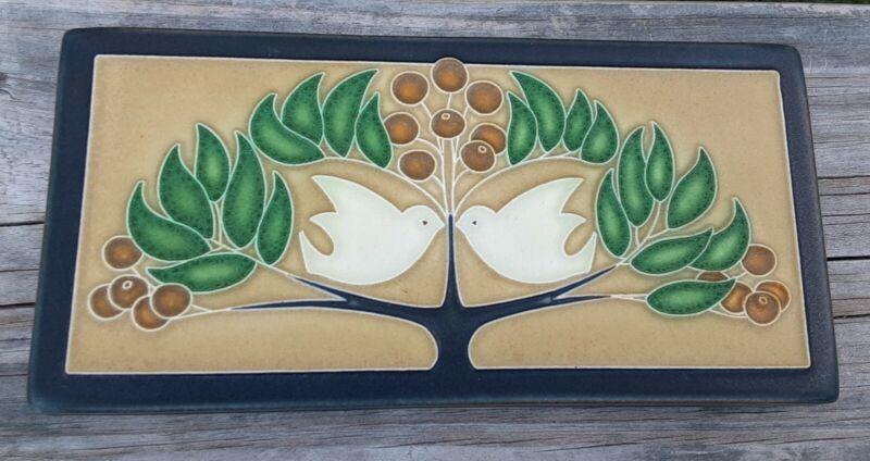 """Motawi Tileworks Lovebirds, Doves in Tree Art Tile 8"""" x 4"""""""
