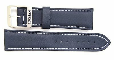 Authentic Locman 22mm NAVY BLUE Lorica Leather Watch Band/Strap with Buckle NEW