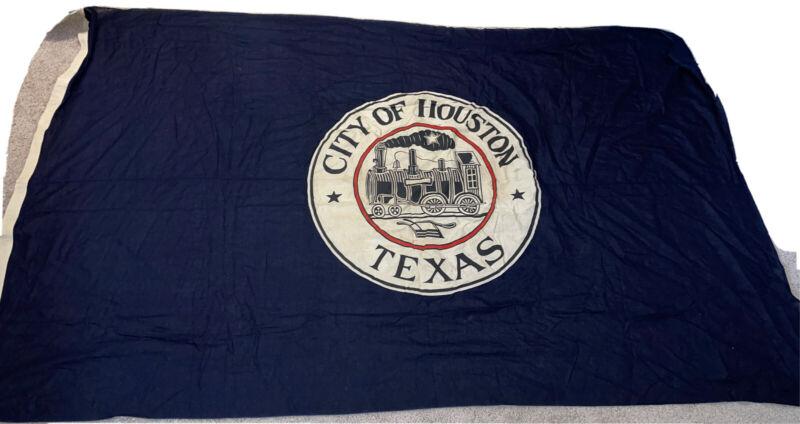 "HUGE City of Houston Texas Flag from Mayor Roy Hofheinz Estate vintage 92""x56"""