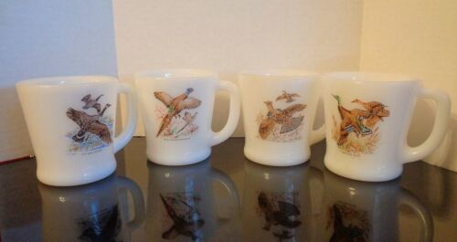 FIRE KING MILK GLASS GAME BIRD MUGS D HANDLE SET OF FOUR COFFEE CUPS