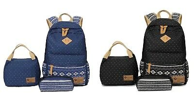 UScarmen Unisex School Canvas Backpack Lunch Bag Pouch Bag 3Pc Set BLACK or BLUE ()