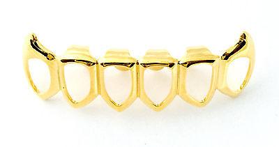 Hip Hop 14K Gold Plated Teeth Grills Grillz Bottom Lower Open Face Fangs - Fangs Gold Teeth