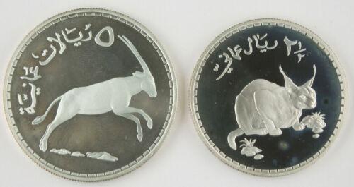 OMAN 1976 2-1/2 & 5 Omani Rials Silver 2 Proof Coin Caracal Lynx & Arabian Oryx