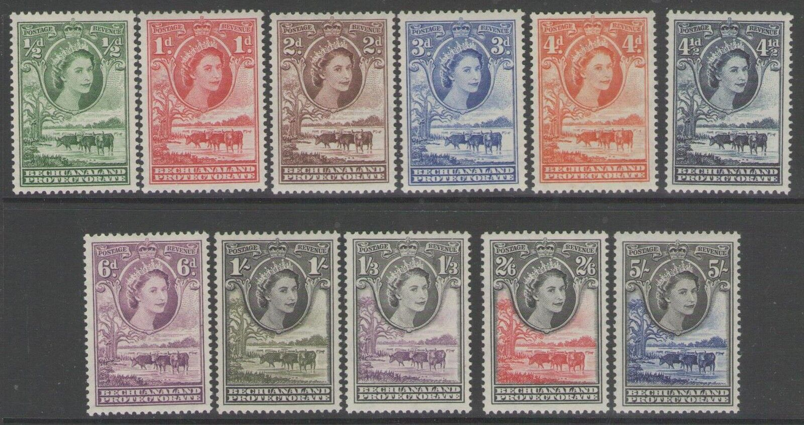 BECHUANALAND SG143/52 1955 DEFINITIVE SET TO 5/= MTD MINT