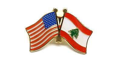 US and Lebanon Flag Lapel Pin / US & Lebanon Pin