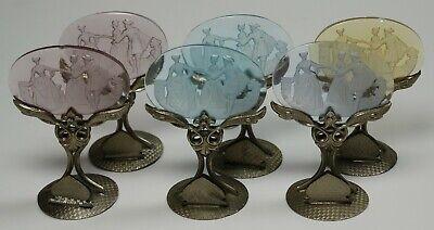 6 vintage place card holders Cechoslovakia Czech glass intaglio -