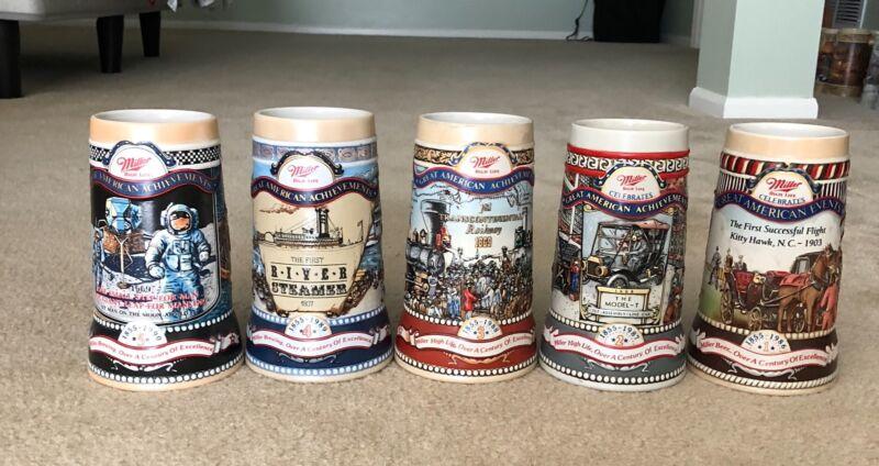 Miller High Life  Great American Achievements Stein Mug Set of 5.