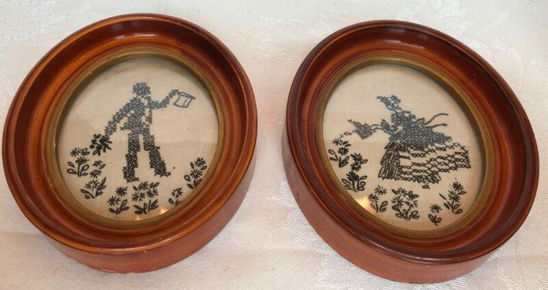 Vintage Cross-Stitch Silhouette Oval Framed Art Pair Victorian Lady & Gentleman