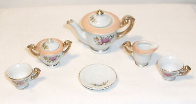TINY MINIATURE PORCELAIN TEA SET FLORAL DESIGN - TEAPOT, CUPS + - JAPAN Floral Design Porcelain