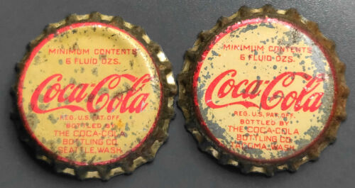 Lot Of 2 Vintage Used Coca-Cola Cork Soda Bottle Caps - Seattle & Tacoma, Wash.