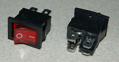 2pcs 4 Pin 2 Position Dpst On-off Rocker Switch With Red Light Lamp 21x15mm