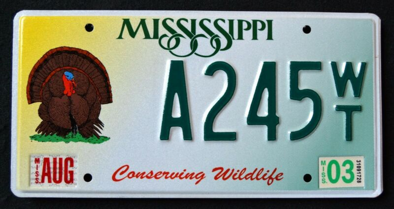 "MISSISSIPPI "" CONSERVING WILDLIFE TURKEY - BIRD "" MS Specialty License Plate"