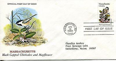 1982 STATE BIRDS AND FLOWERS SERIES MASSACHUSETTS CHUCK RIPPER CACHET ADDR FDC