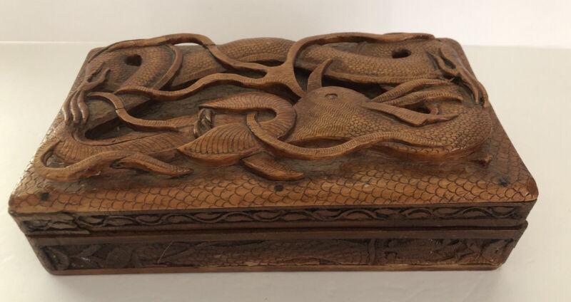 Vintage Asian Design Wood Carved Dragon Serpent Sea Urchin Hinged Trinket Box