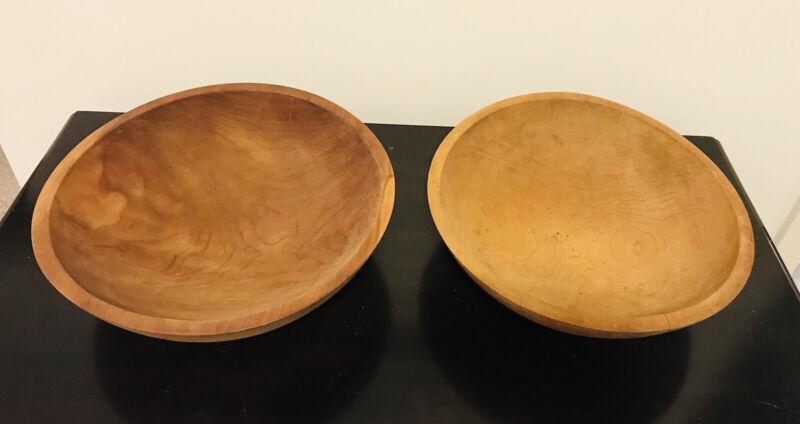 Set Two Primitive Vintage Antique Wood Dough Bowls Country Farm Kitchen Decor