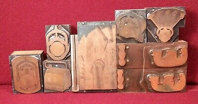 Antique Copper Print Blocks - Industrial Pipe Cutting Operation Set Lot Of 9