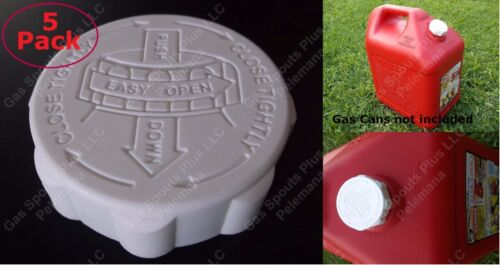 5-Pack BLITZ Gas Can CAPS ONLY Heavy Duty SAFETY GALLON LIDS Rubber Viton Gasket