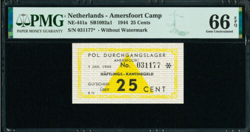 Netherlands 25 Cents 1944 AMERSFOORT CONCENTRATION CAMP GEM UNC PMG 66 EPQ