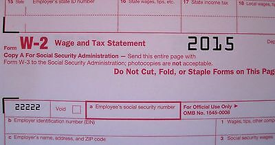 2015  5 Sheets W 2 Irs Wage Tax Statement   3  W 3 Transmittal Forms