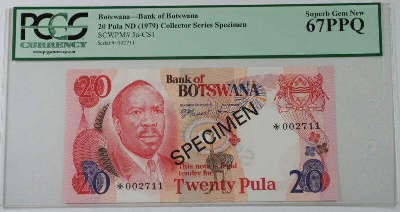 (1979) Botswana 20 Pula Specimen Note SCWPM# 5a-CS1 PCGS 67 PPQ Superb Gem New