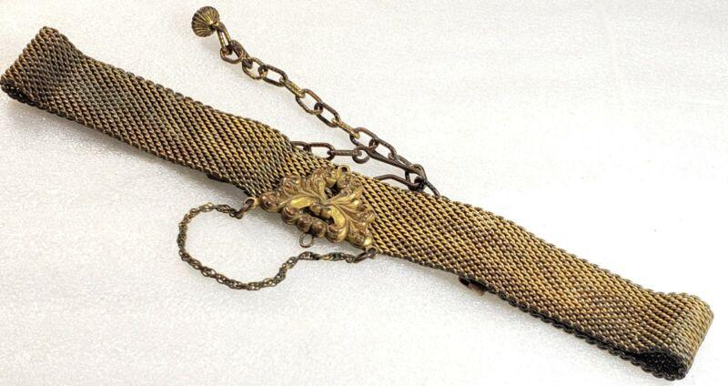 Antique Victorian Brass Bronze Mesh Choker Necklace
