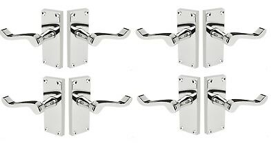 4 Pack of Victorian Scroll interior Door Handles 120x40mm Polished Chrome