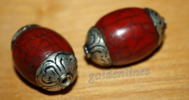 Tibetan Nepalese Handmade red Howlite 2 Nepalese Beads Tibetan Beads BDS346
