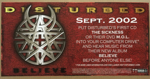 DISTURBED  Rare 2001 PROMO POSTER w/ RELEASE DATE for Believe CD NEVER DISPLAYED