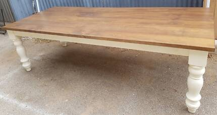 Made to order turned leg dining table with stained solid pine top Lonsdale Morphett Vale Area Preview