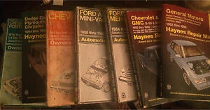 Quite a few Haynes vehicle repair manuals from 1969-up