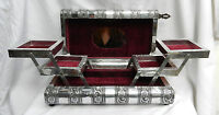 Large Embossed Indian Style Silver Metal Locking Jewellery Box - Bnib - cleo - ebay.co.uk