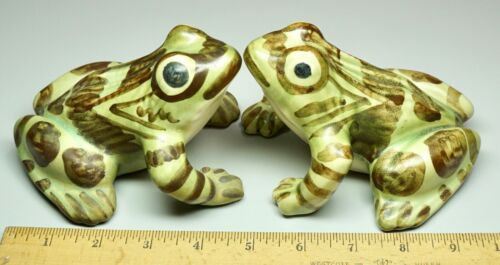 "2 Vintage Hand Painted Ceramic Frog Toad Figurines 5"" Green & Brown"