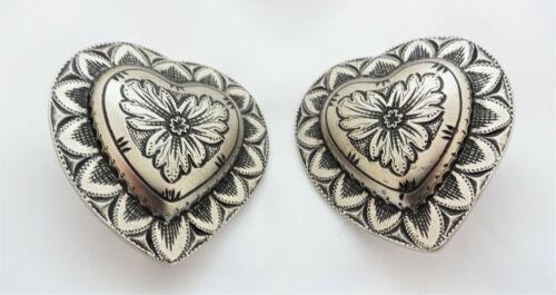 "Pair Jeremiah Watt Heart White Bronze Conchos 1 3/4"" Bridle Loop Back Horse Tack"