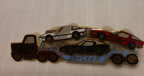 JAYCEES Collectible Pin KENTUCKY Car Carrier Truck w detachable cars Hat Lapel