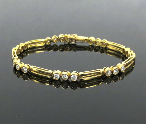 Rare Gerard 1.50ct De Vs Perfect Cut Diamond 18k Yellow Gold Tennis Bracelet