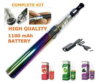 ELECTRONIC e CIG CIGARETT RAINBOW SHISHA  RECHRGEABLE PEN &2 NON NICOTINE JUICES